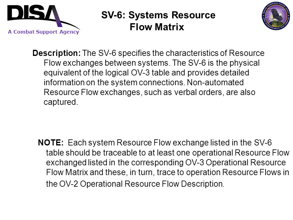A Combat Support Agency Description: The SV-6 specifies the characteristics of Resource Flow exchanges between systems. The SV-6 is the physical equiv