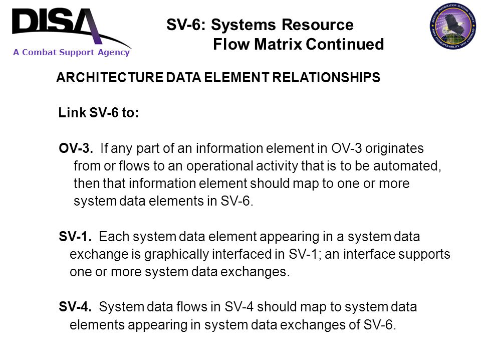 A Combat Support Agency ARCHITECTURE DATA ELEMENT RELATIONSHIPS Link SV-6 to: OV-3. If any part of an information element in OV-3 originates from or f