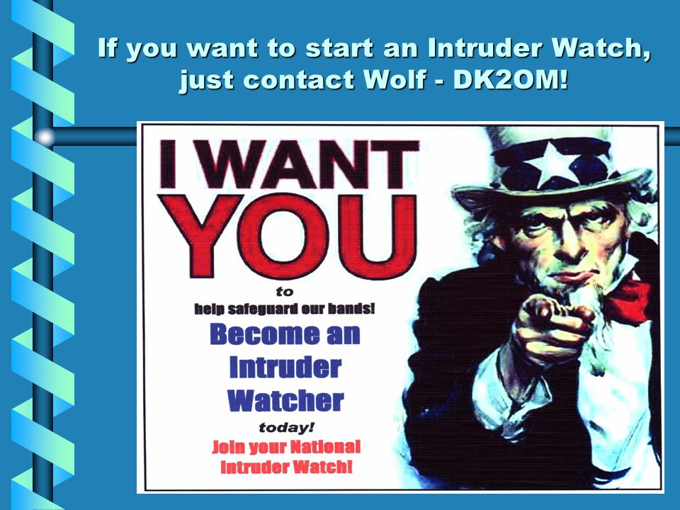 If you want to start an Intruder Watch, just contact Wolf - DK2OM!