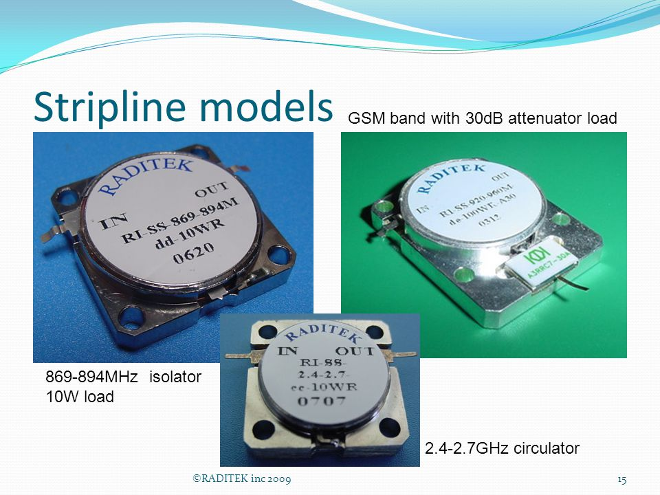 Stripline models ©RADITEK inc 200915 GSM band with 30dB attenuator load 2.4-2.7GHz circulator 869-894MHz isolator 10W load