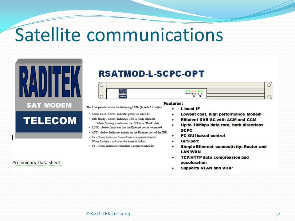 Satellite communications ©RADITEK inc 200952