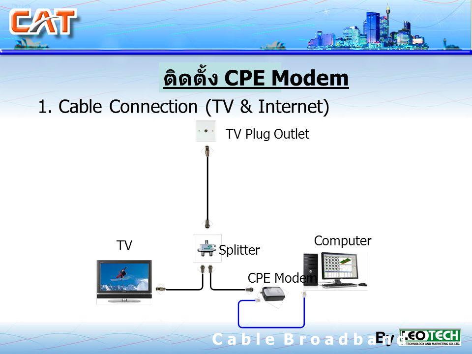1. Cable Connection (TV & Internet) TV Plug Outlet TV Computer CPE Modem Splitter CPE Modem By C a b l e B r o a d b a n d