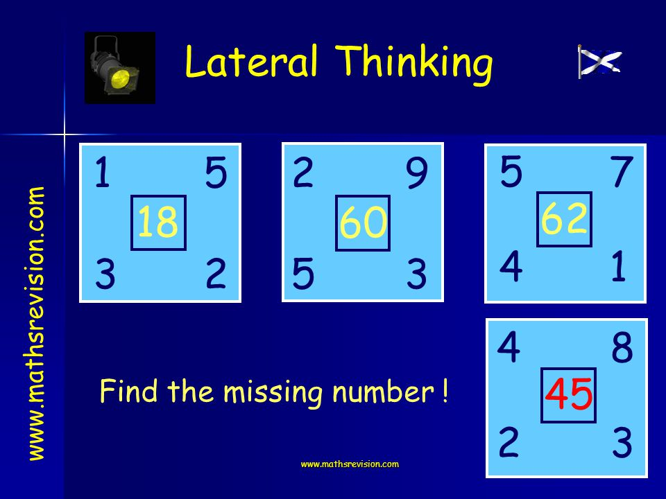 www.mathsrevision.com Lateral Thinking www.mathsrevision.com 1259 3523 5 4 7 8 4 2 1 3 18 60 62 45 Find the missing number !