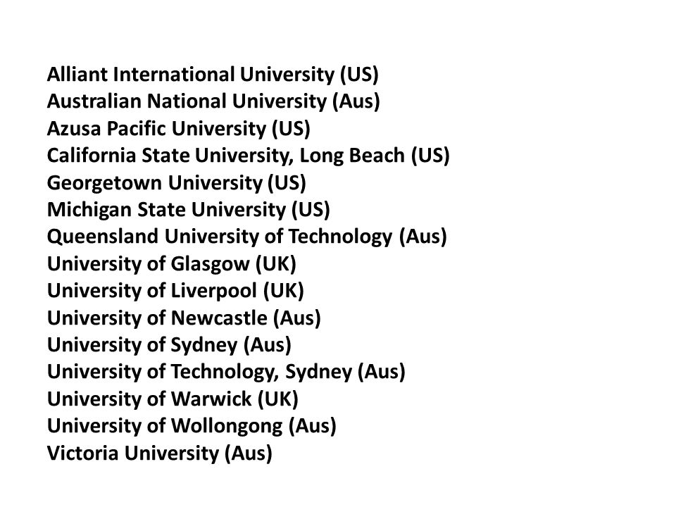 Alliant International University (US) Australian National University (Aus) Azusa Pacific University (US) California State University, Long Beach (US) Georgetown University (US) Michigan State University (US) Queensland University of Technology (Aus) University of Glasgow (UK) University of Liverpool (UK) University of Newcastle (Aus) University of Sydney (Aus) University of Technology, Sydney (Aus) University of Warwick (UK) University of Wollongong (Aus) Victoria University (Aus)