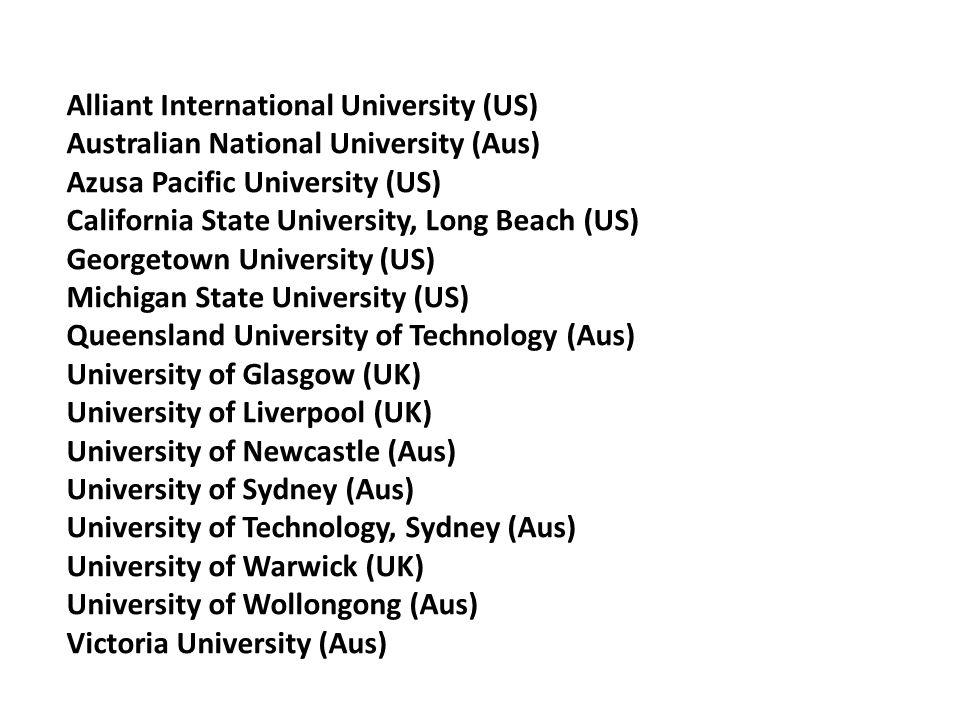 Alliant International University (US) Australian National University (Aus) Azusa Pacific University (US) California State University, Long Beach (US)