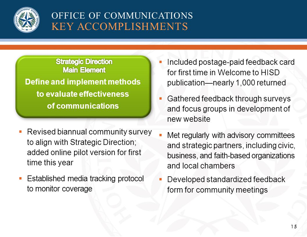 15 OFFICE OF COMMUNICATIONS KEY ACCOMPLISHMENTS Define and implement methods to evaluate effectiveness of communications Revised biannual community survey to align with Strategic Direction; added online pilot version for first time this year Established media tracking protocol to monitor coverage Included postage-paid feedback card for first time in Welcome to HISD publicationnearly 1,000 returned Gathered feedback through surveys and focus groups in development of new website Met regularly with advisory committees and strategic partners, including civic, business, and faith-based organizations and local chambers Developed standardized feedback form for community meetings