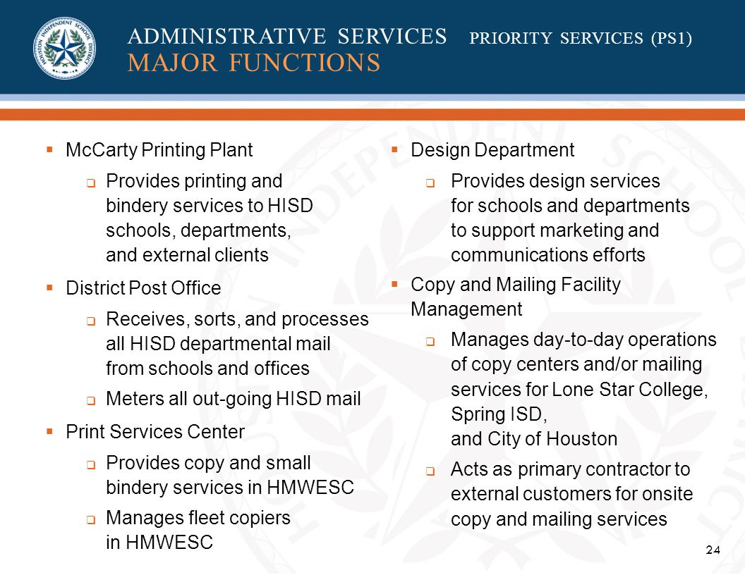 24 McCarty Printing Plant Provides printing and bindery services to HISD schools, departments, and external clients District Post Office Receives, sorts, and processes all HISD departmental mail from schools and offices Meters all out-going HISD mail Print Services Center Provides copy and small bindery services in HMWESC Manages fleet copiers in HMWESC Design Department Provides design services for schools and departments to support marketing and communications efforts Copy and Mailing Facility Management Manages day-to-day operations of copy centers and/or mailing services for Lone Star College, Spring ISD, and City of Houston Acts as primary contractor to external customers for onsite copy and mailing services ADMINISTRATIVE SERVICES PRIORITY SERVICES (PS1) MAJOR FUNCTIONS