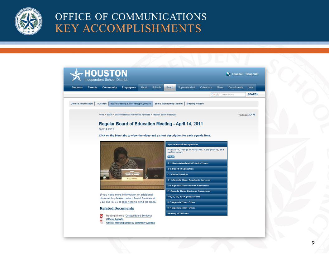9 OFFICE OF COMMUNICATIONS KEY ACCOMPLISHMENTS