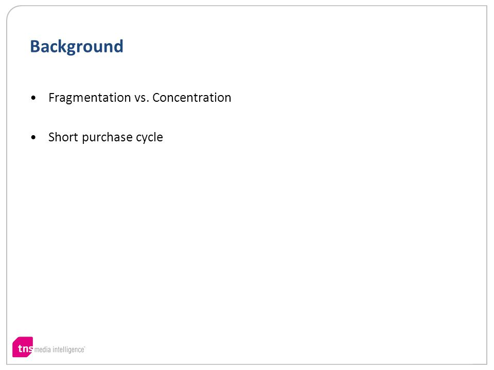 Background Fragmentation vs. Concentration Short purchase cycle