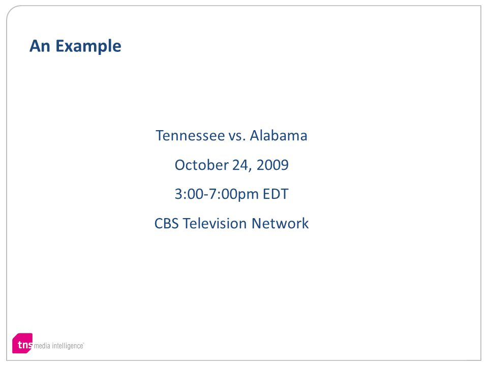 Tennessee vs. Alabama October 24, 2009 3:00-7:00pm EDT CBS Television Network An Example