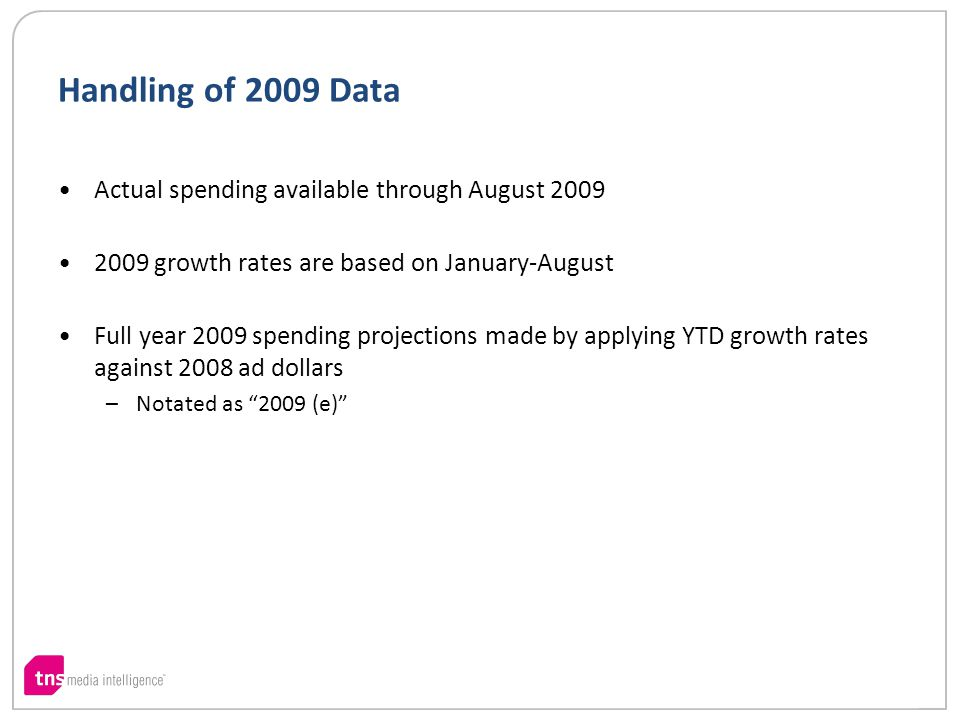 Handling of 2009 Data Actual spending available through August 2009 2009 growth rates are based on January-August Full year 2009 spending projections made by applying YTD growth rates against 2008 ad dollars –Notated as 2009 (e)