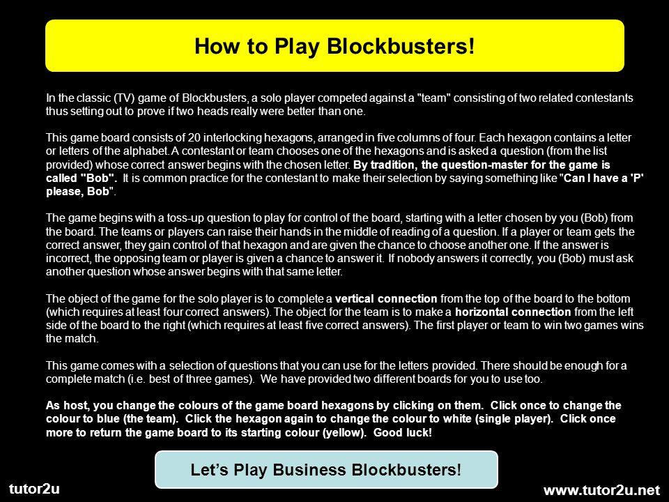www.tutor2u.net tutor2u How to Play Blockbusters.
