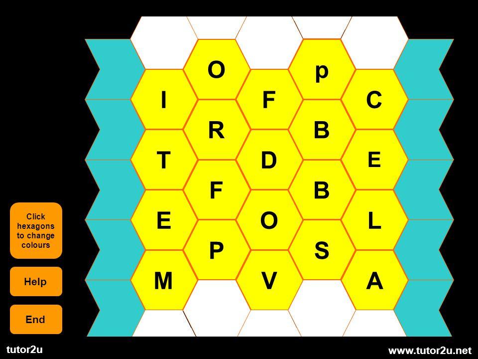 www.tutor2u.net tutor2u I T E M O R F P F D O V p B B S C E L A Help End Click hexagons to change colours