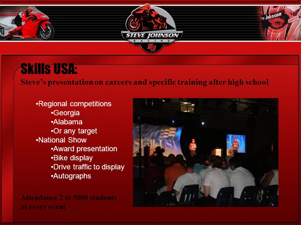 Skills USA: Steves presentation on careers and specific training after high school Regional competitions Georgia Alabama Or any target National Show Award presentation Bike display Drive traffic to display Autographs Attendance 2 to 5000 students at every event