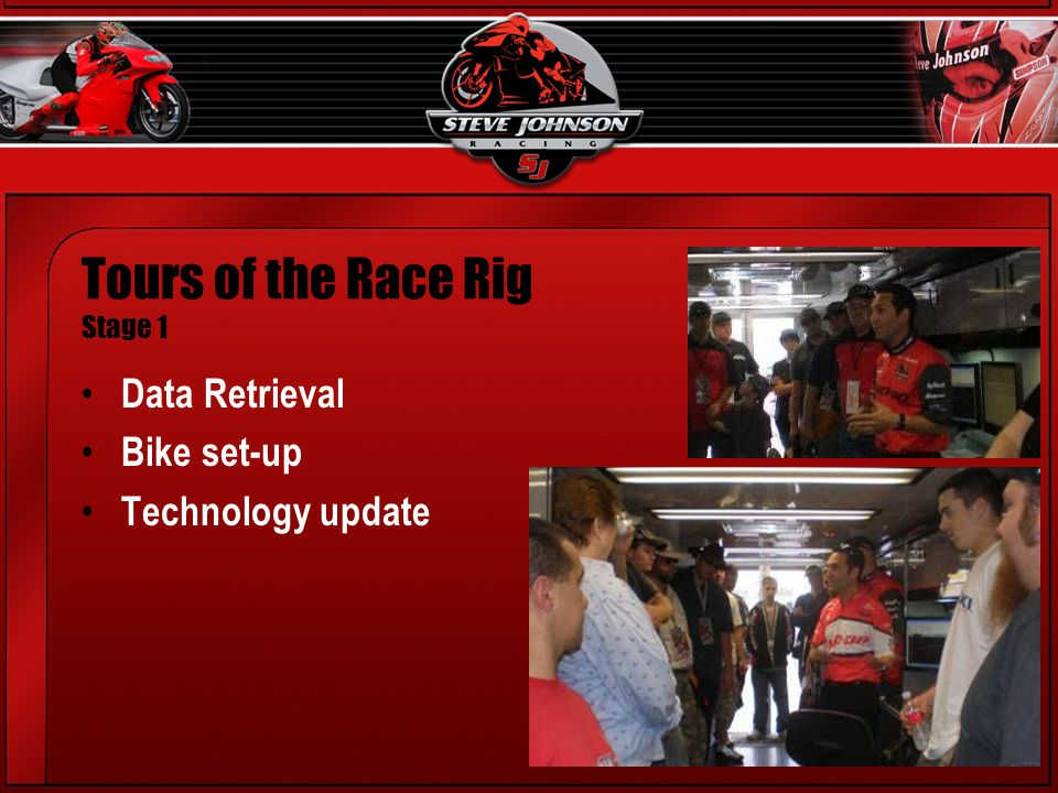 Tours of the Race Rig Stage 1 Data Retrieval Bike set-up Technology update