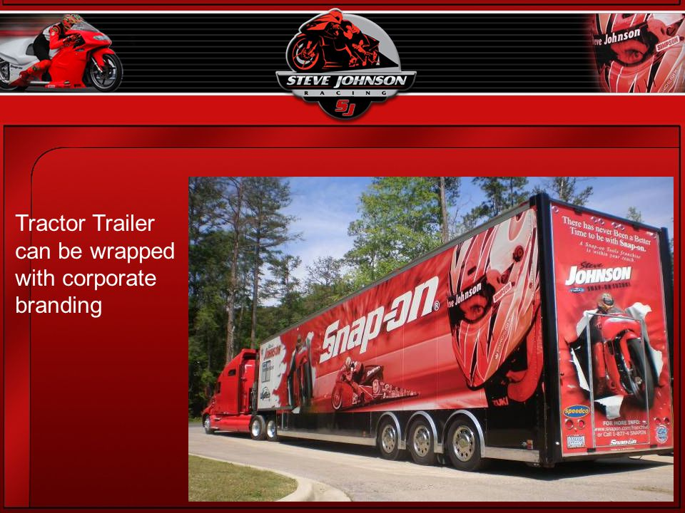 Tractor Trailer can be wrapped with corporate branding
