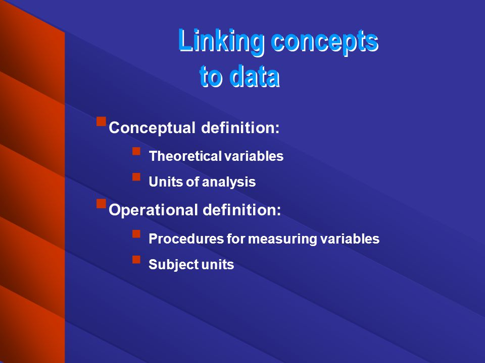 Linking concepts to data Conceptual definition: Theoretical variables Units of analysis Operational definition: Procedures for measuring variables Sub