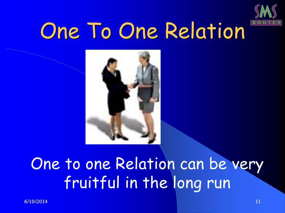 6/10/201411 One To One Relation One to one Relation can be very fruitful in the long run