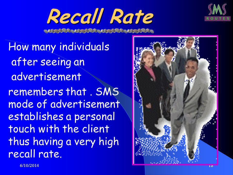 6/10/201418 Recall Rate How many individuals after seeing an advertisement remembers that.
