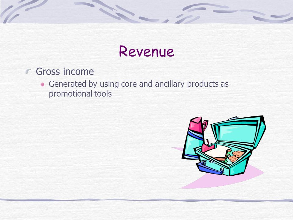 Revenue Gross income Generated by using core and ancillary products as promotional tools