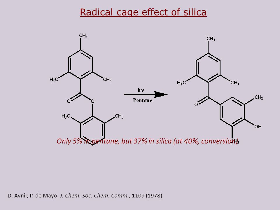 D. Avnir, P. de Mayo, J. Chem. Soc. Chem. Comm., 1109 (1978) Radical cage effect of silica Only 5% in pentane, but 37% in silica (at 40%, conversion)