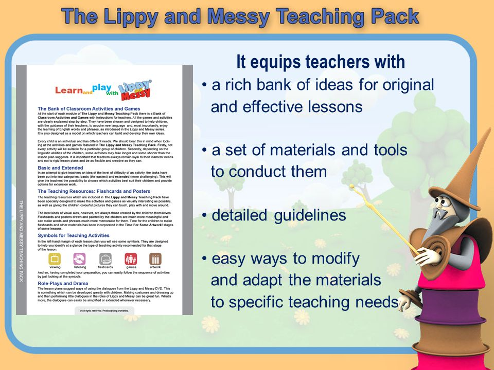 It equips teachers with a rich bank of ideas for original and effective lessons a set of materials and tools to conduct them detailed guidelines easy