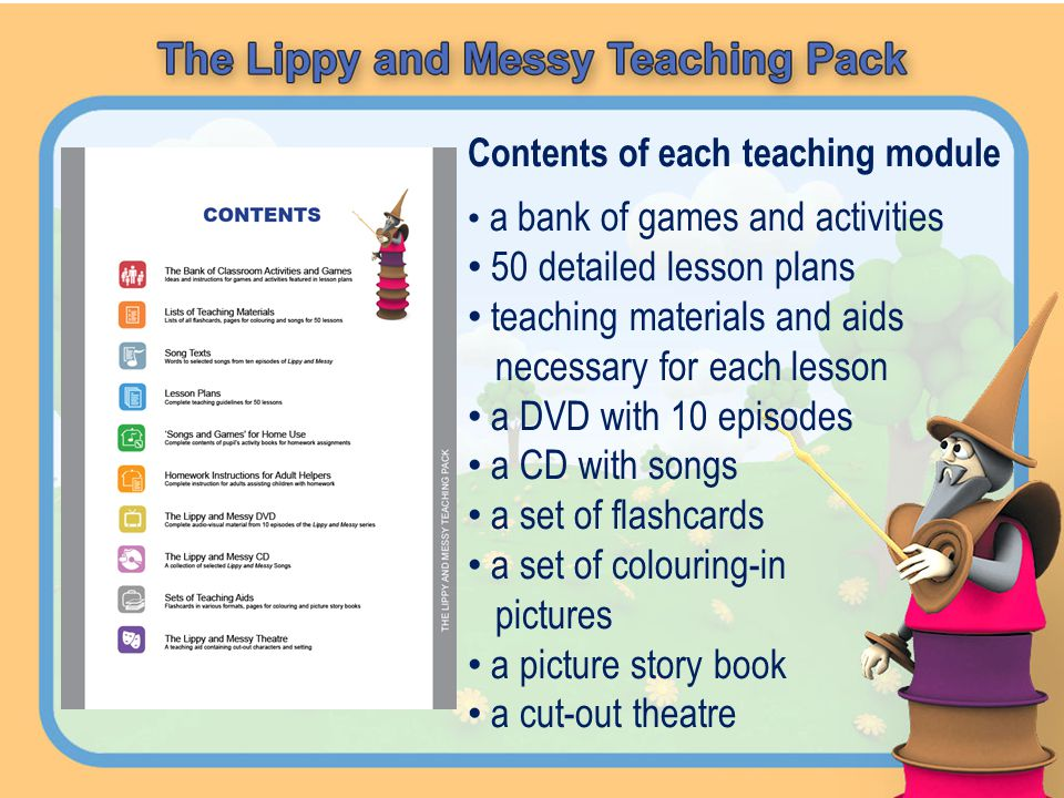 Contents of each teaching module a bank of games and activities 50 detailed lesson plans teaching materials and aids necessary for each lesson a DVD w