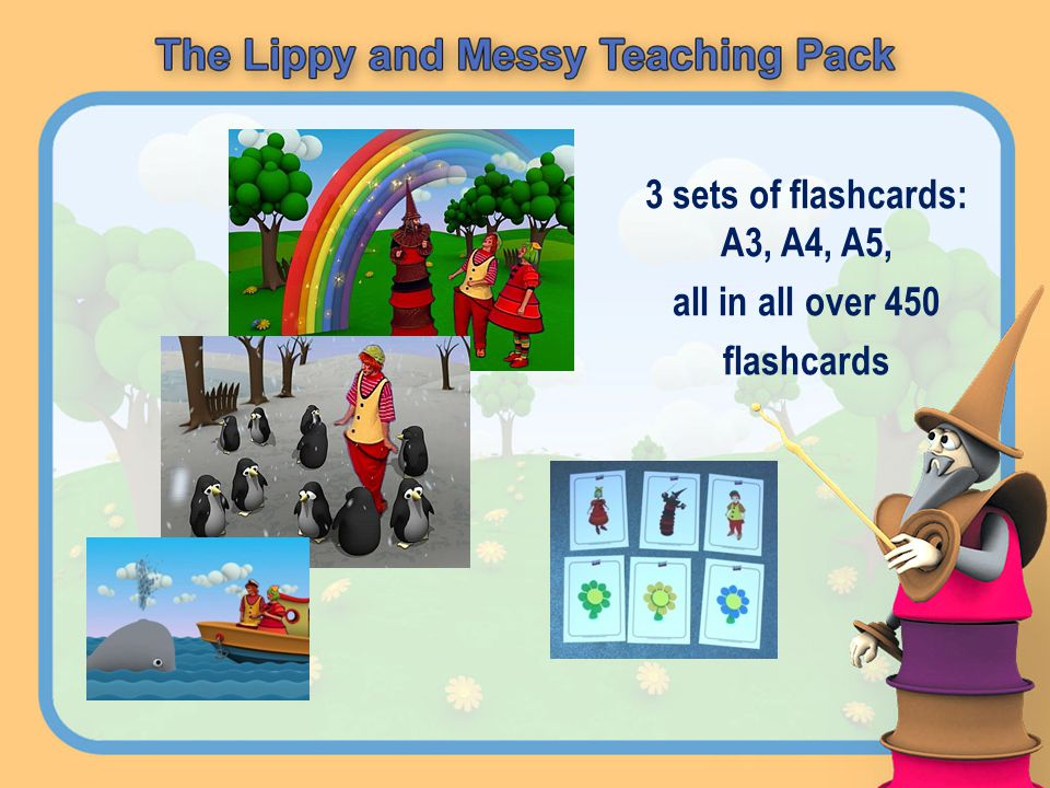 3 sets of flashcards: A3, A4, A5, all in all over 450 flashcards