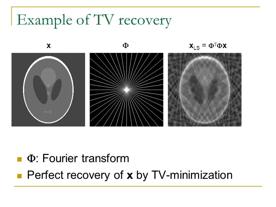 Example of TV recovery : Fourier transform Perfect recovery of x by TV-minimization xx LS = x