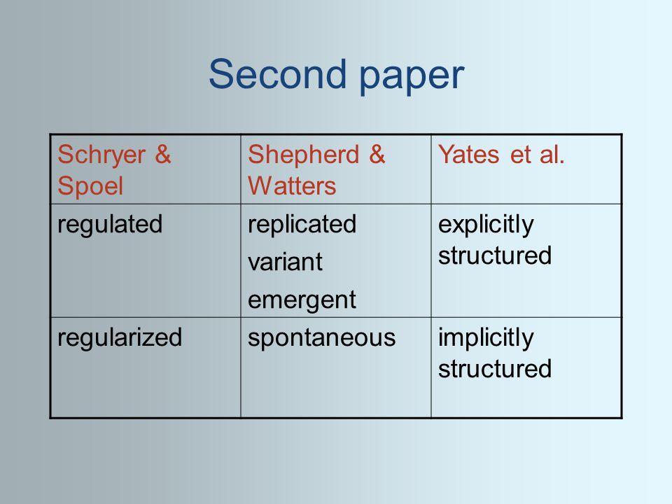 Second paper Schryer & Spoel Shepherd & Watters Yates et al.