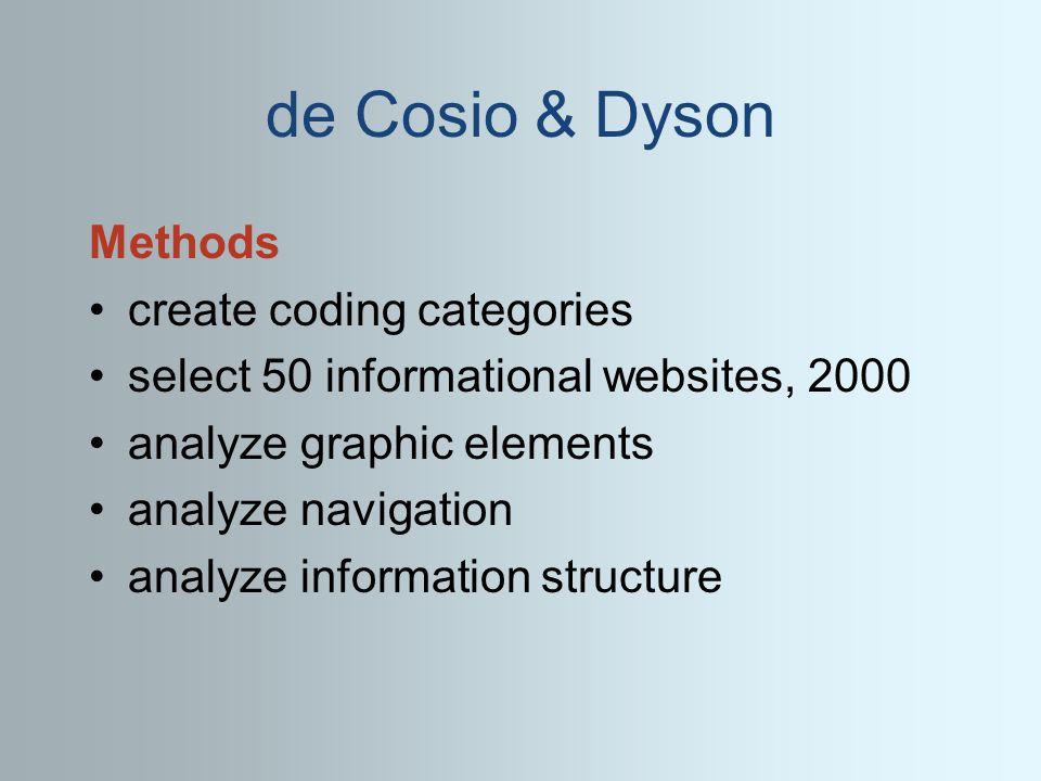 de Cosio & Dyson Methods create coding categories select 50 informational websites, 2000 analyze graphic elements analyze navigation analyze information structure