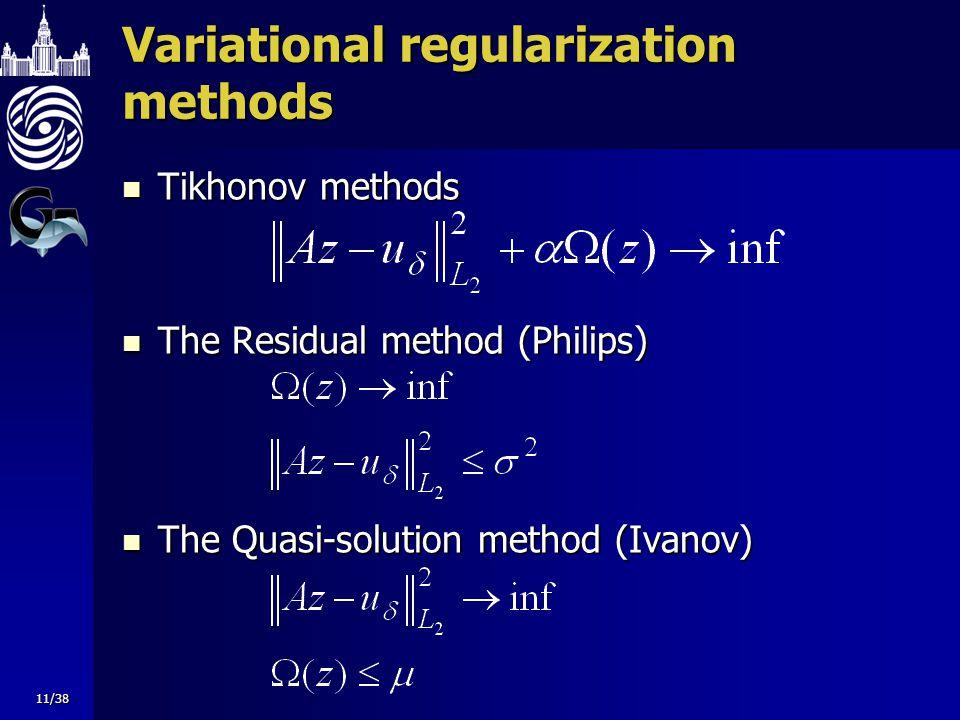 Variational regularization methods Tikhonov methods Tikhonov methods The Residual method (Philips) The Residual method (Philips) The Quasi-solution me