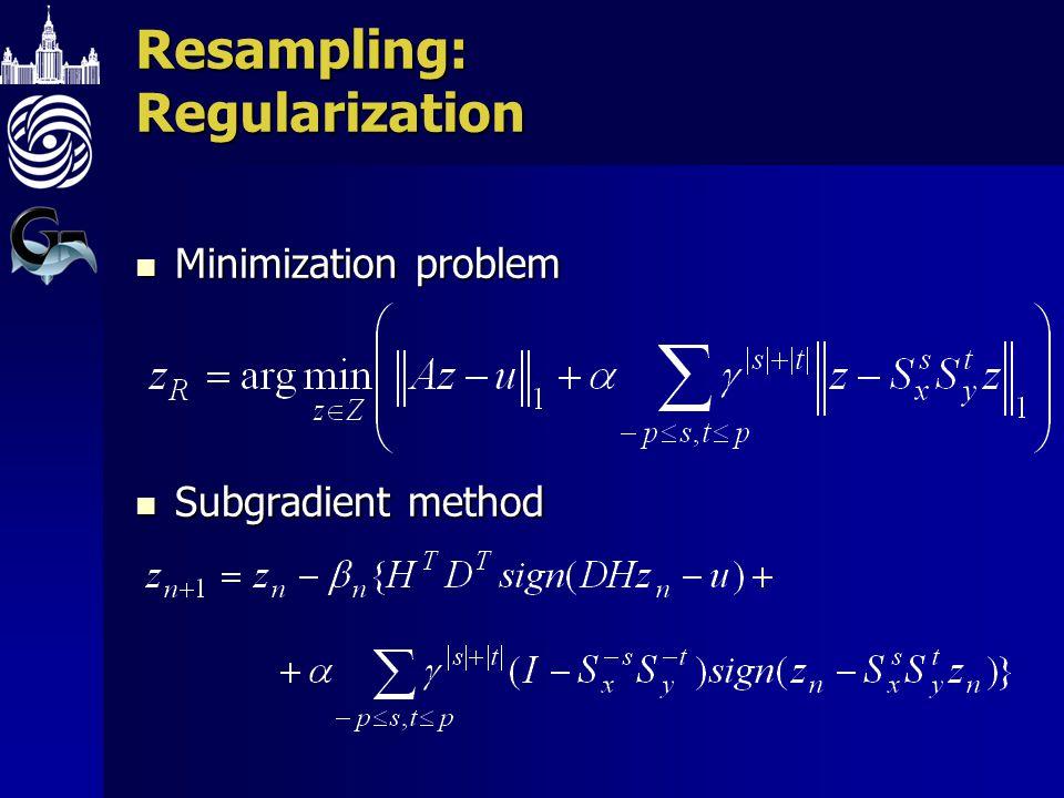 Resampling: Regularization Minimization problem Minimization problem Subgradient method Subgradient method