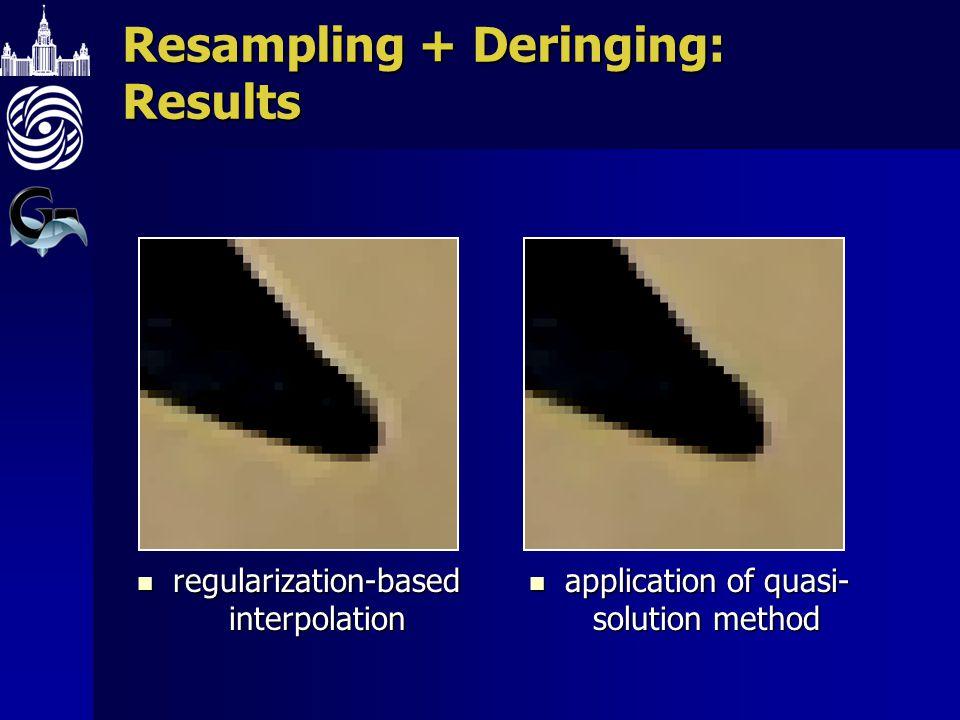 Resampling + Deringing: Results regularization-based interpolation regularization-based interpolation application of quasi- solution method applicatio