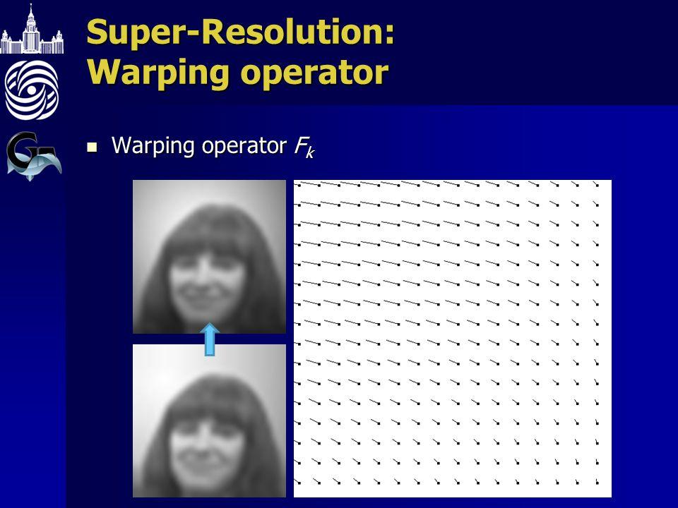 Super-Resolution: Warping operator Warping operator F k Warping operator F k