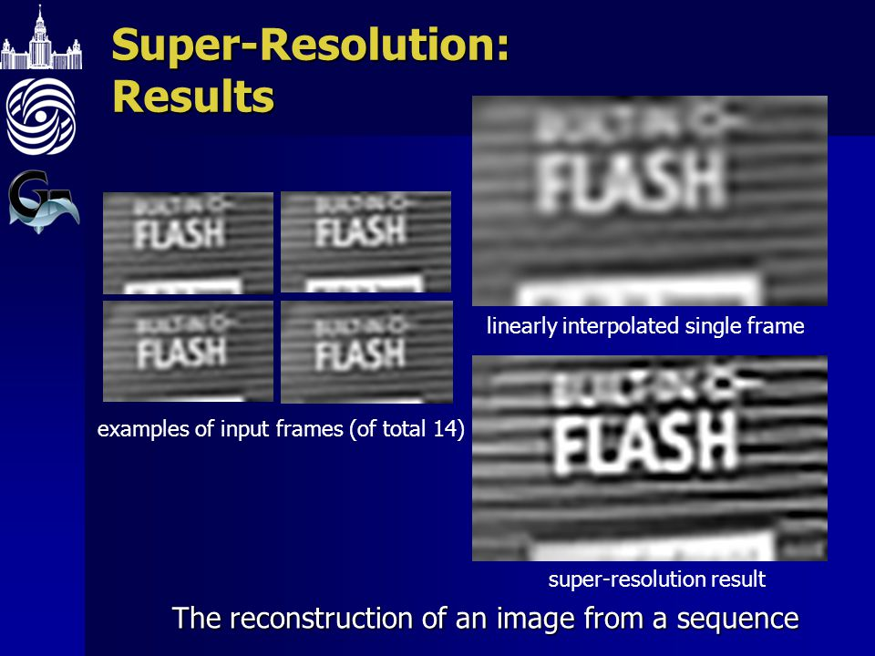 Super-Resolution: Results The reconstruction of an image from a sequence examples of input frames (of total 14) linearly interpolated single frame super-resolution result