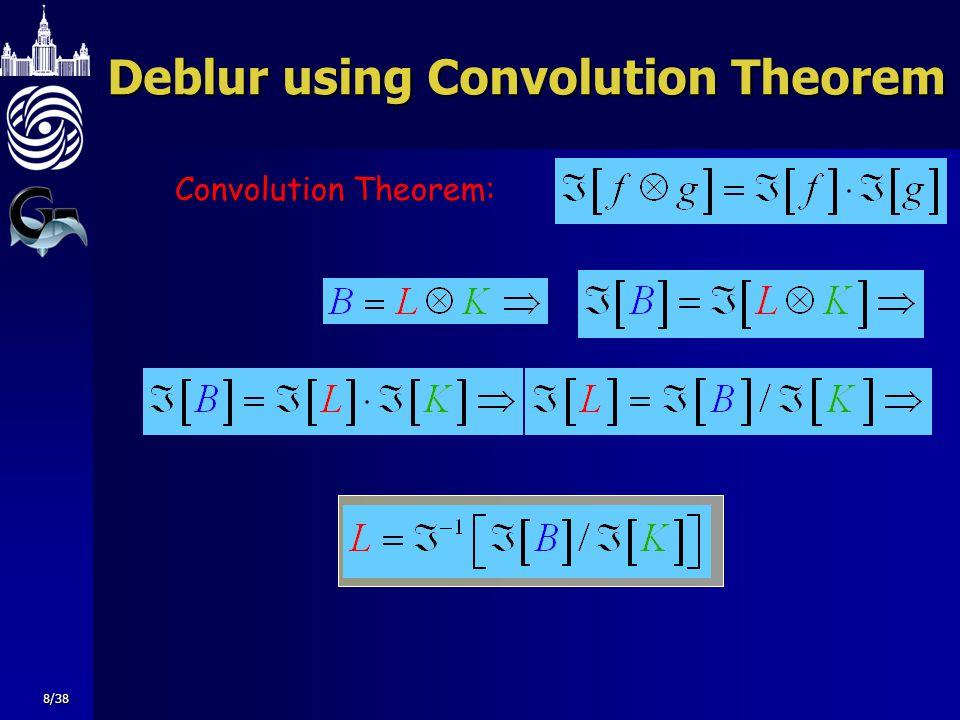 Deblur using Convolution Theorem Convolution Theorem: 8/38
