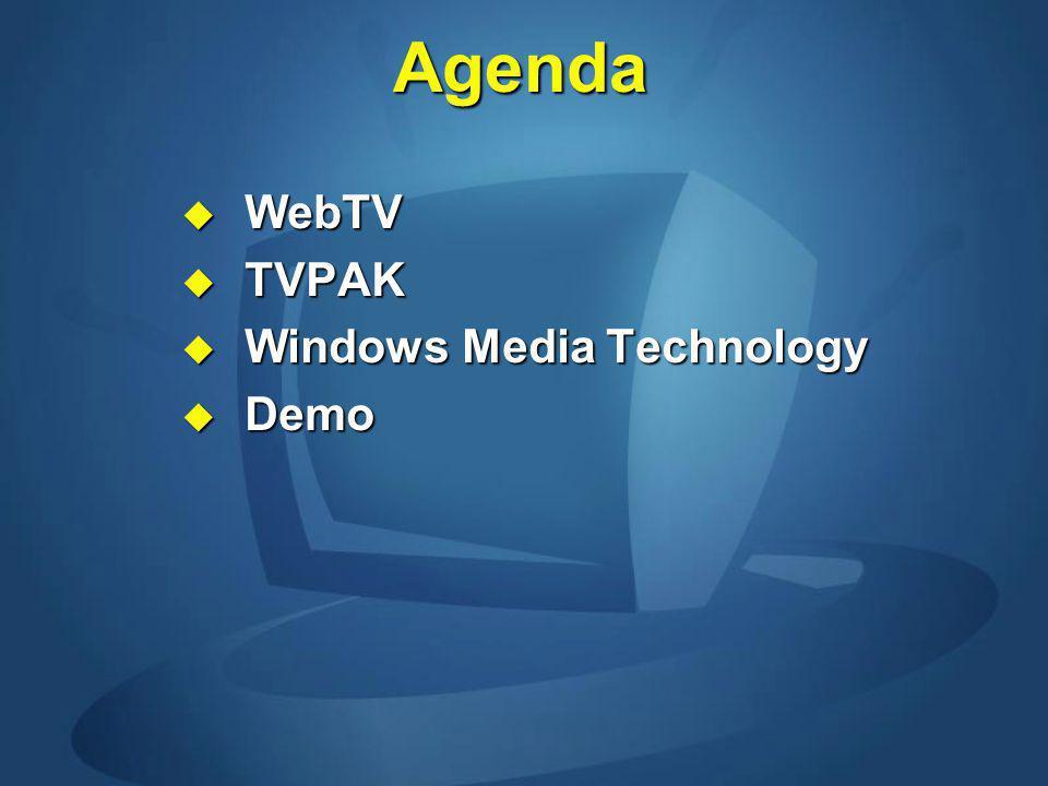 Agenda WebTV WebTV TVPAK TVPAK Windows Media Technology Windows Media Technology Demo Demo