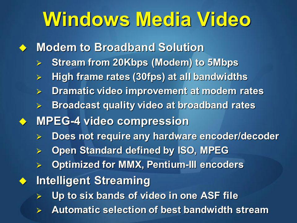 Windows Media Video Modem to Broadband Solution Modem to Broadband Solution Stream from 20Kbps (Modem) to 5Mbps Stream from 20Kbps (Modem) to 5Mbps High frame rates (30fps) at all bandwidths High frame rates (30fps) at all bandwidths Dramatic video improvement at modem rates Dramatic video improvement at modem rates Broadcast quality video at broadband rates Broadcast quality video at broadband rates MPEG-4 video compression MPEG-4 video compression Does not require any hardware encoder/decoder Does not require any hardware encoder/decoder Open Standard defined by ISO, MPEG Open Standard defined by ISO, MPEG Optimized for MMX, Pentium-III encoders Optimized for MMX, Pentium-III encoders Intelligent Streaming Intelligent Streaming Up to six bands of video in one ASF file Up to six bands of video in one ASF file Automatic selection of best bandwidth stream Automatic selection of best bandwidth stream