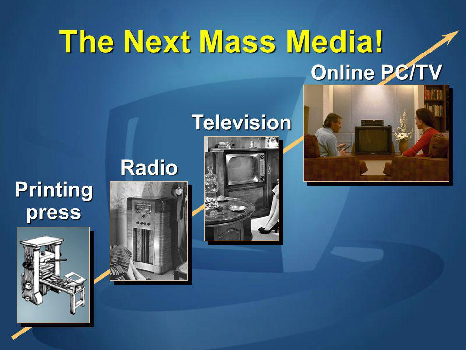 The Next Mass Media! Printing press Radio Television Online PC/TV