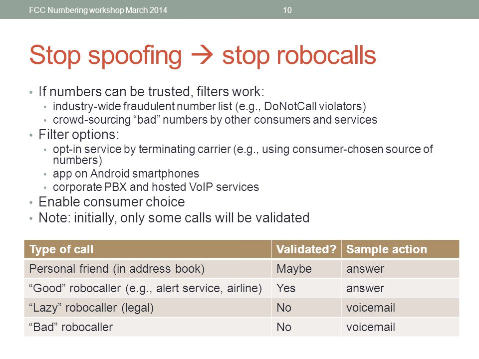 Stop spoofing stop robocalls If numbers can be trusted, filters work: industry-wide fraudulent number list (e.g., DoNotCall violators) crowd-sourcing