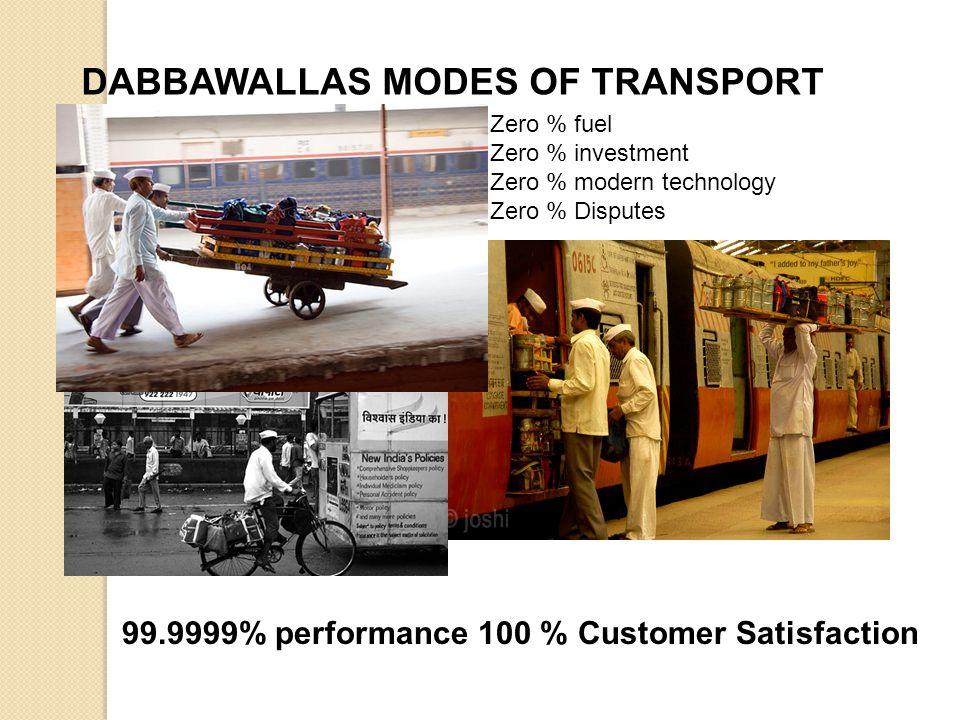 DABBAWALLAS MODES OF TRANSPORT Zero % fuel Zero % investment Zero % modern technology Zero % Disputes 99.9999% performance 100 % Customer Satisfaction
