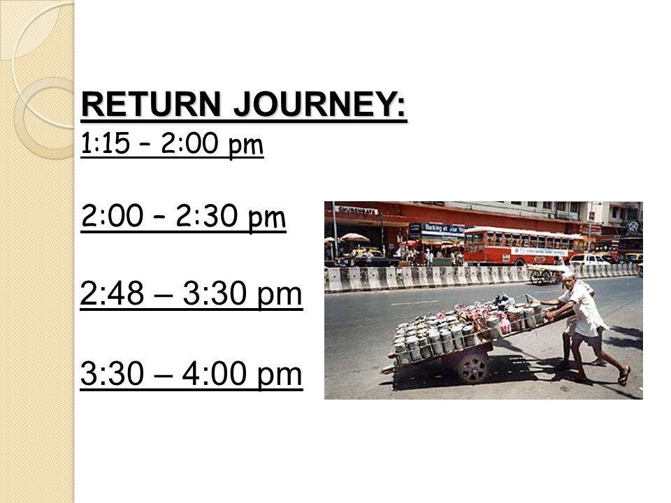 RETURN JOURNEY: 1:15 – 2:00 pm 2:00 – 2:30 pm 2:48 – 3:30 pm 3:30 – 4:00 pm