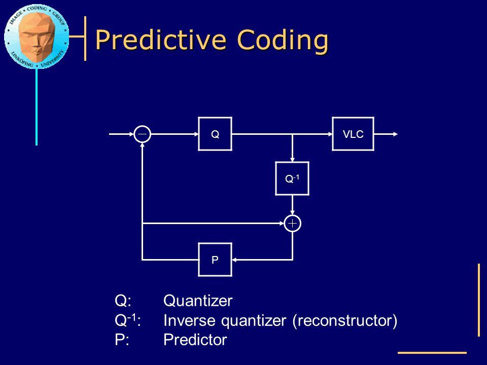 Predictive Coding Q Q -1 VLC P Q:Quantizer Q -1 :Inverse quantizer (reconstructor) P:Predictor
