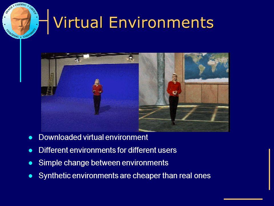 Virtual Environments Downloaded virtual environment Different environments for different users Simple change between environments Synthetic environmen
