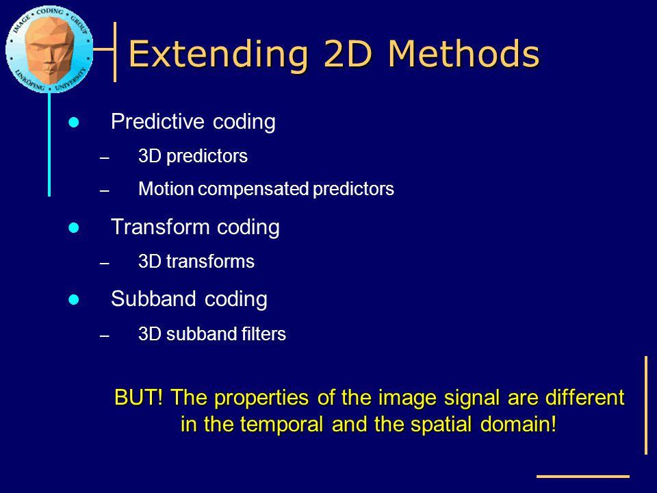 Extending 2D Methods Predictive coding – 3D predictors – Motion compensated predictors Transform coding – 3D transforms Subband coding – 3D subband fi