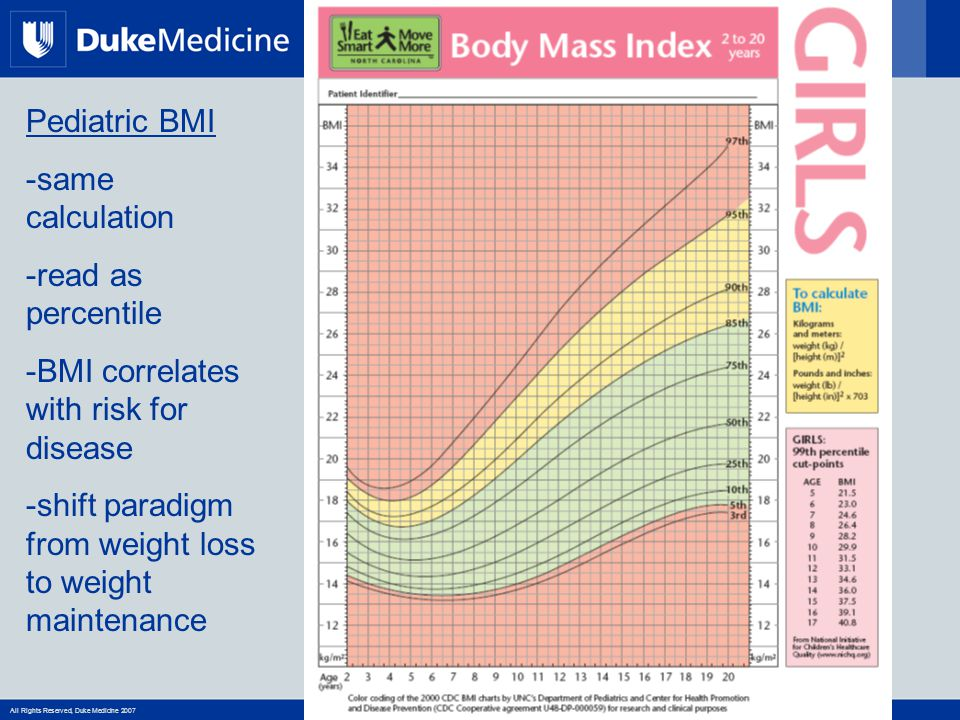 All Rights Reserved, Duke Medicine 2007 Pediatric BMI -same calculation -read as percentile -BMI correlates with risk for disease -shift paradigm from weight loss to weight maintenance