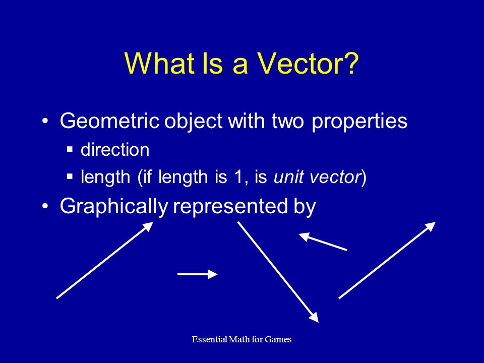 Essential Math for Games What Is a Vector.