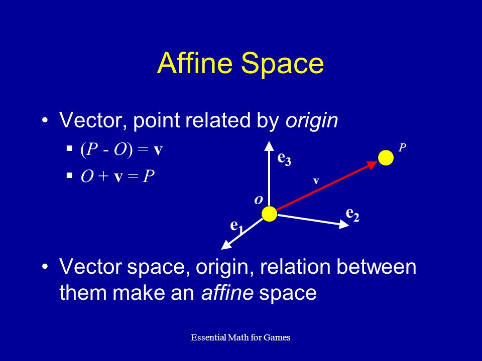 Essential Math for Games Vector, point related by origin (P - O) = v O + v = P Vector space, origin, relation between them make an affine space Affine Space v P O e3e3 e2e2 e1e1