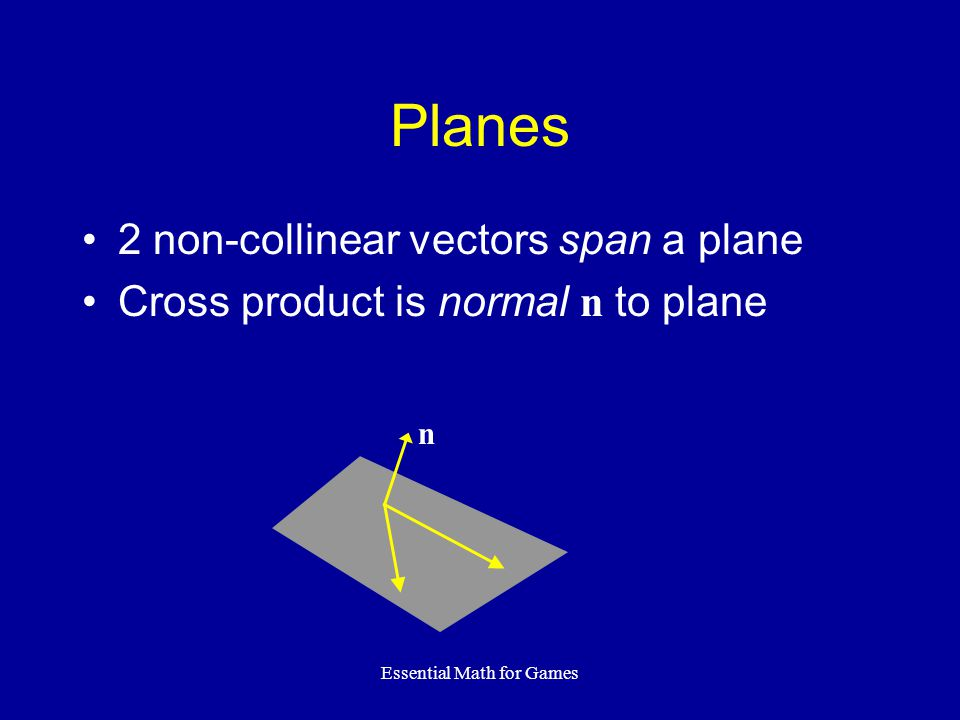Essential Math for Games Planes 2 non-collinear vectors span a plane Cross product is normal n to plane n